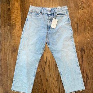 Zara hi-Rise cropped straight jeans